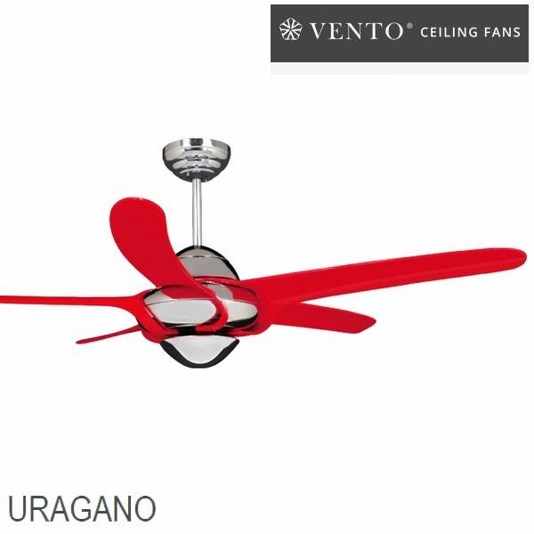 シーリングファン VENTO ウラガノ レッド [VF-UG54CH-RE] リモコン付 照明なし ※4〜7坪用
