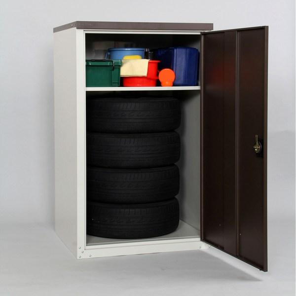 家庭用収納庫 物置 扉式タイヤ収納庫 高さ132cm TBT-132(MBR)