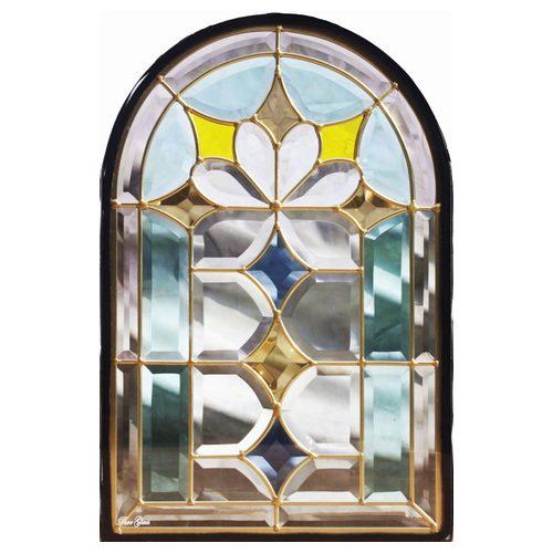 ステンドグラス (SH-K06N) 一部鏡面ガラス 495×330×18mm デザイン 窓型 アーチ ピュアグラス Kサイズ (約5kg) ※代引不可