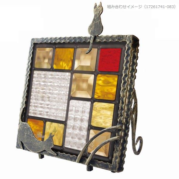 ステンドグラス専用アイアンフレーム 置き型  『ピュアスタンド』 SH-D用 (PSD-02) アンティークゴールド 枠 猫 ※代引不可