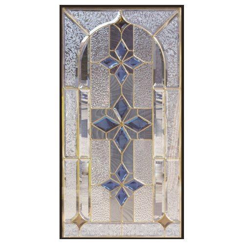 ステンドグラス (SH-A09N) 一部鏡面ガラス 913×480×18mm デザイン 窓 アーチ ピュアグラス Aサイズ (約13kg) ※代引不可