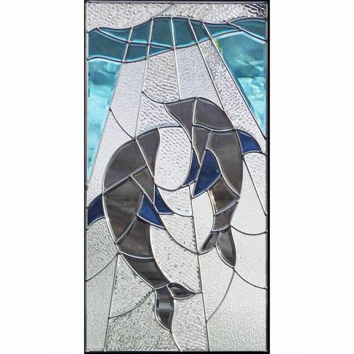 ステンドグラス (SH-A22) 一部鏡面ガラス 913×480×18mm イルカ Aサイズ (約13kg) メーカー在庫限り ※代引不可