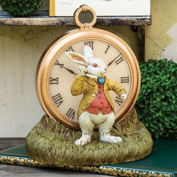 オーナメント ソーラーオーナメント ラビットの時計 (SR-0765-1000) オブジェ ガーデン アリス 白ウサギ