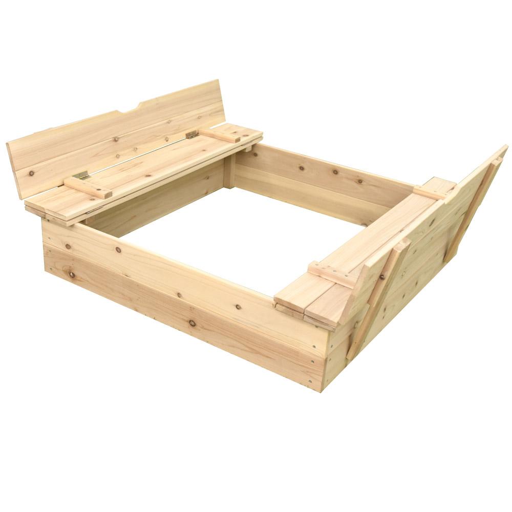 木製砂場キット (DIY 自宅 庭用 子供 キッズ向け) 1000×1000×235mm ※砂は含まれておりません