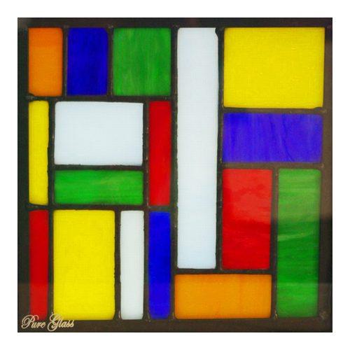 ステンドグラス (SH-L04) 200×200×18mm デザイン ピュアステンド 幾何学 モダン (約1kg) メーカー在庫限り ※代引不可