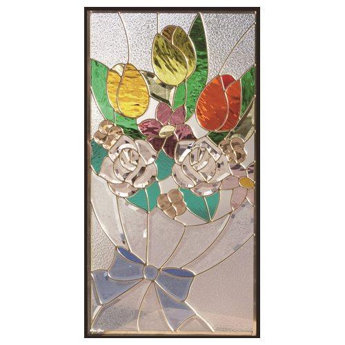 ステンドグラス (SH-A46) 一部鏡面ガラス 913×480×18mm デザイン花束 ピュアグラス Aサイズ (約13kg) ※代引不可