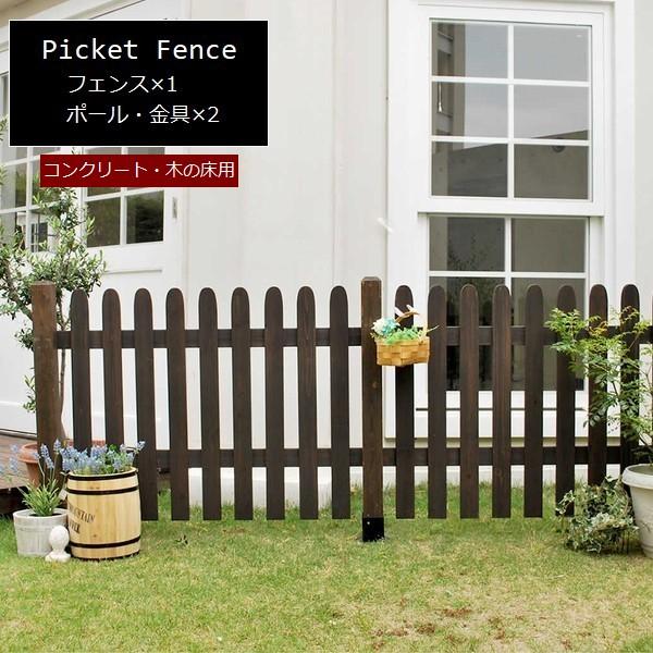 フェンス 木製 ダークブラウン ピケットフェンス ストレート基本セット(平地用) SFPS1200F-HB-DBR ※北海道+5500円