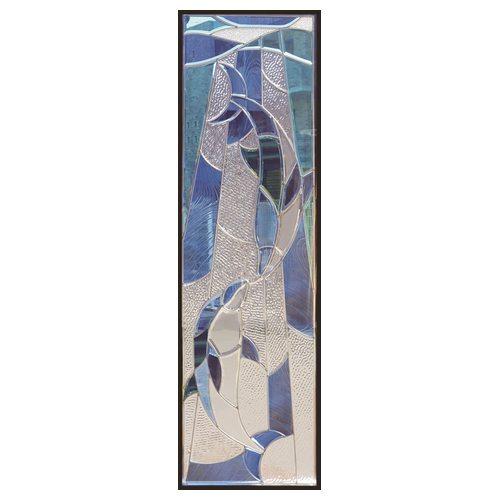 ステンドグラス (SH-B14N) 一部鏡面ガラス 1625×480×20mm デザイン イルカ 海 ピュアグラス Bサイズ (約24kg) ※代引不可