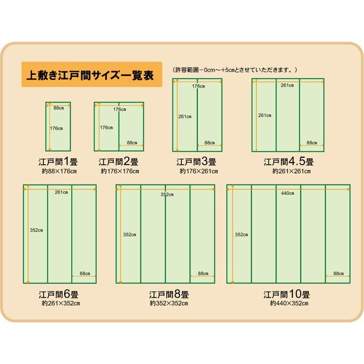 上敷き 10畳 不知火 江戸間10畳 (440×352cm) い草 ラグ 国産 (6300139)