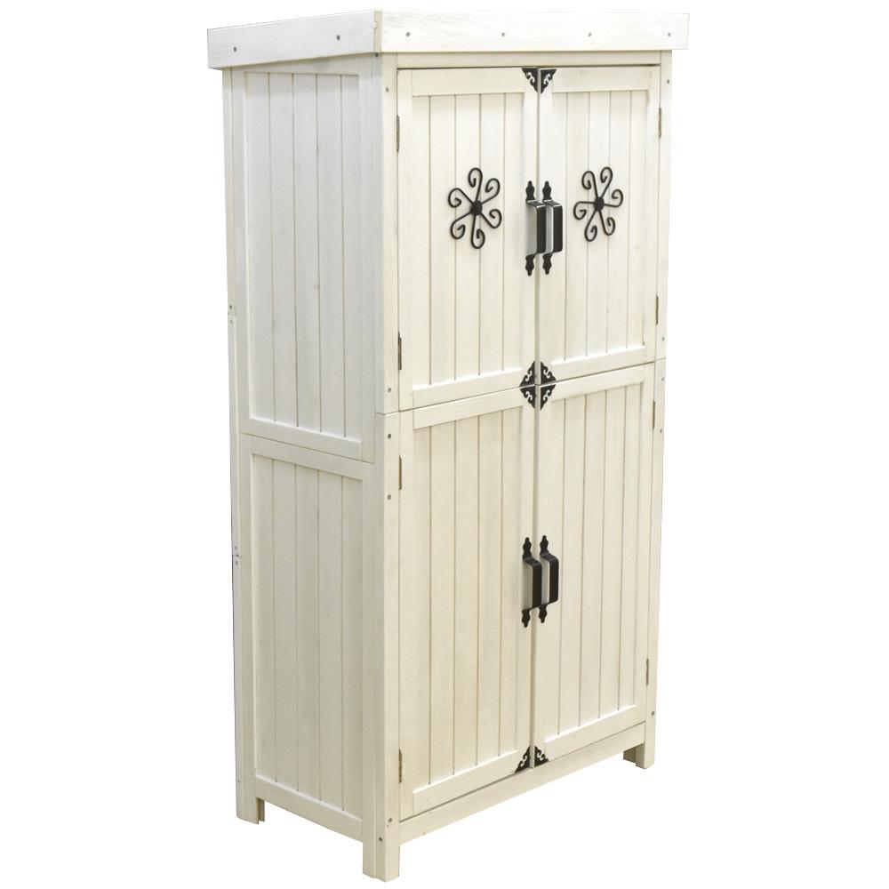 物置 収納庫 木製 ホワイト オーデンII 屋外 庭 ストッカー ガーデニング 屋外収納