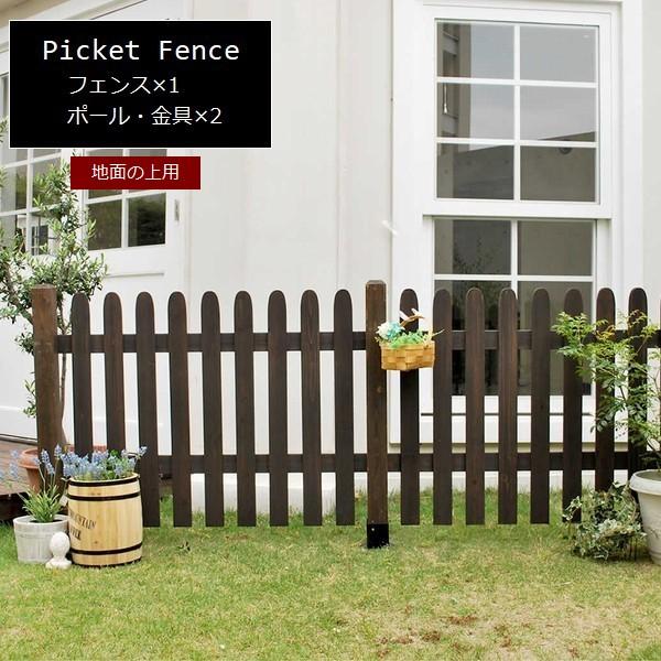 フェンス 木製 ダークブラウン ピケットフェンス ストレート基本セット(土中用) SFPS1200F-UB-DBR ※北海道+5500円