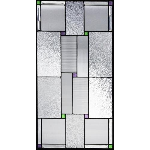 ステンドグラス (SH-A32) 913×480×18mm デザイン ピュアグラス 幾何学 Aサイズ (約13kg) メーカー在庫限り ※代引不可