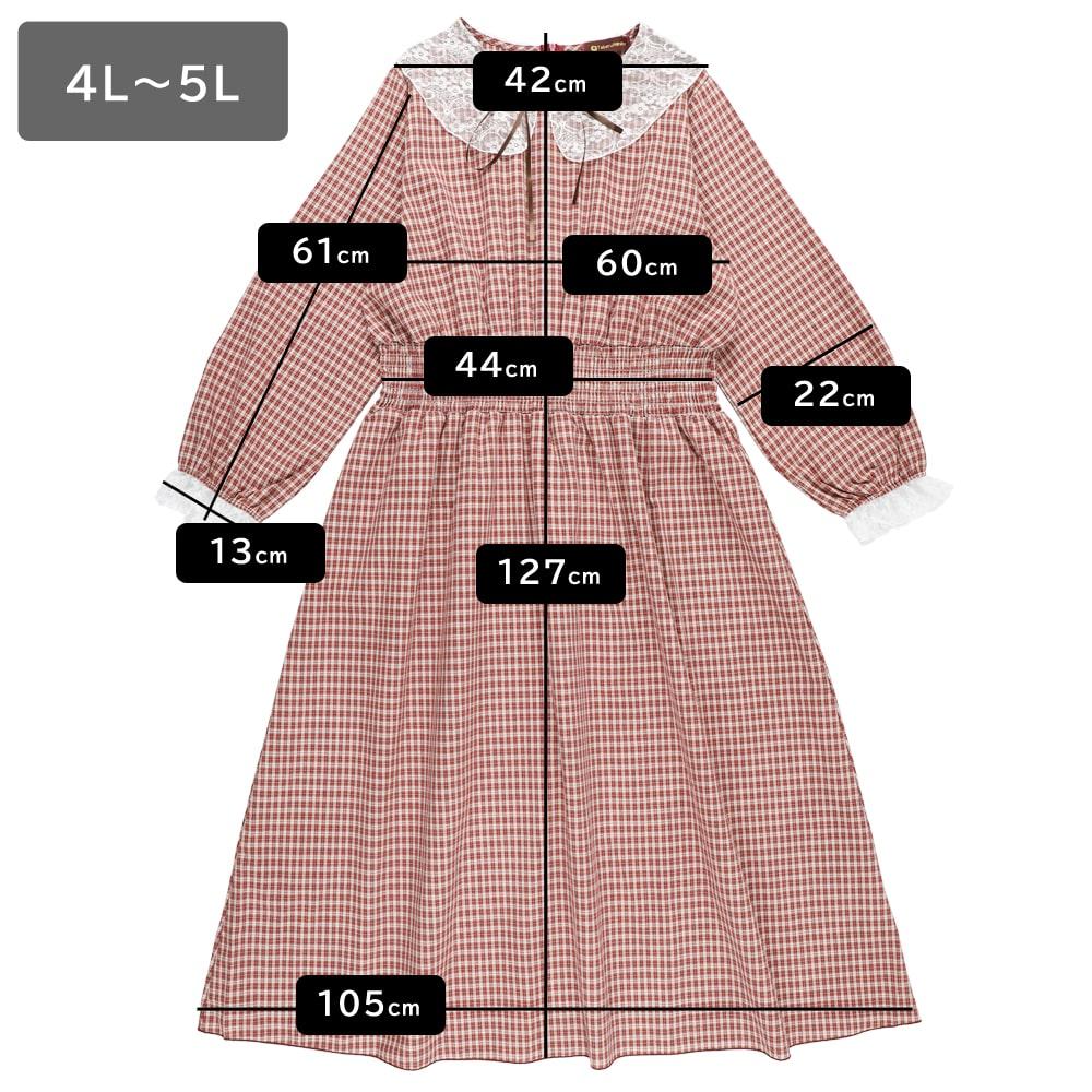 【大きいサイズ】レースチェックロングワンピース(LL~5L)
