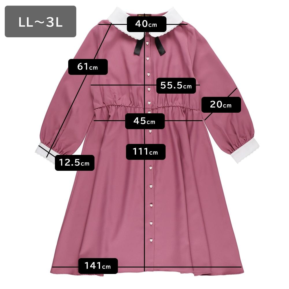 【大きいサイズ】前開きリボン付 シックワンピース(LL~5L)
