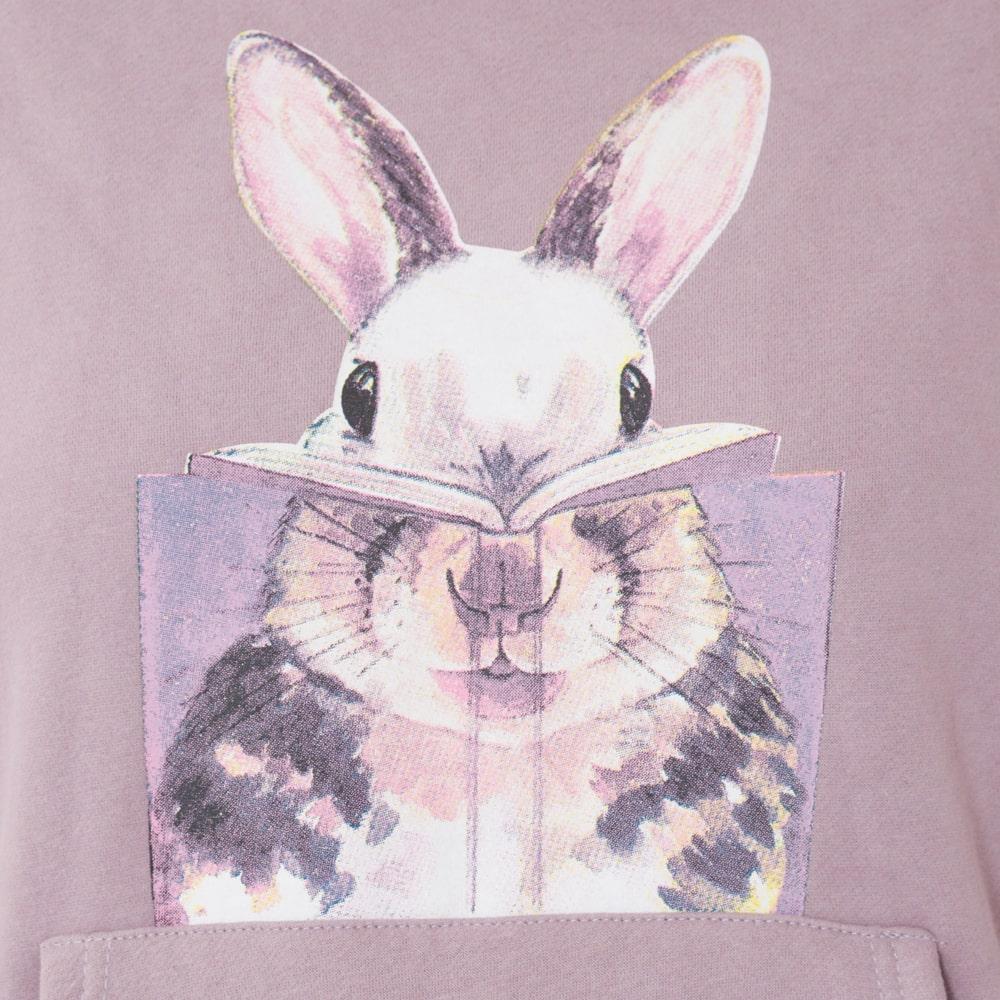 ウサギさん裏起毛トレーナーフード付きパープルワンピース(XL-6L)