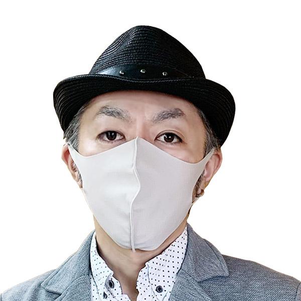 【冷感】洗えるクールUVフィットマスク(Lサイズ2枚組)【オフホワイト】大人用