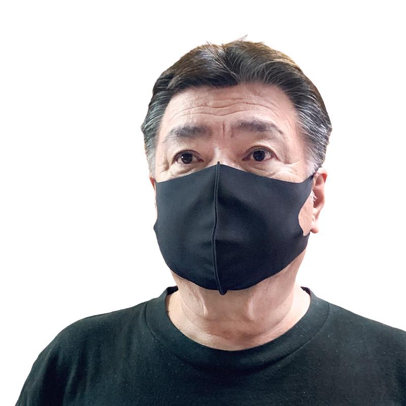 【冷感】洗えるクールUVフィットマスク(Lサイズ2枚組)【ブラック】大人用