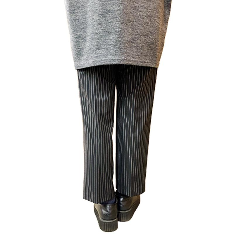 ★ストレートストライプパンツ【Lサイズ:ブラック】ウエスト69~77