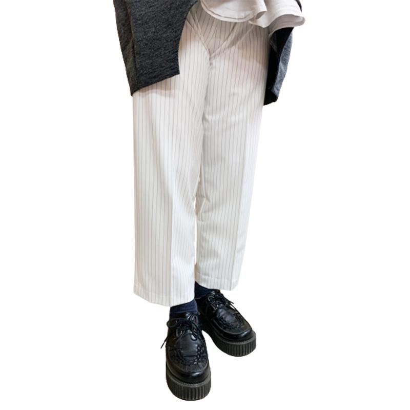 ★ストレートストライプパンツ【Mサイズ:ホワイト】ウエスト64~70