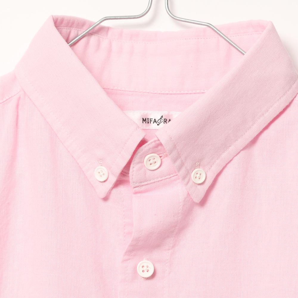 胸刺繍綿リネンシャツ (MF19-33) mens メンズ