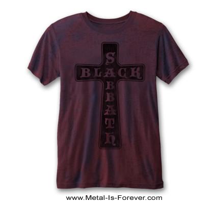 BLACK SABBATH -ブラック・サバス- VINTAGE CROSS 「ヴィンテージ・クロス」  バーンアウト Tシャツ(赤青ツートーン)