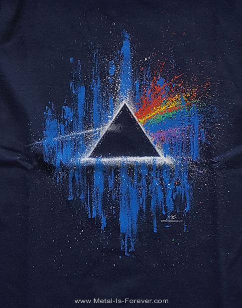 PINK FLOYD (ピンク・フロイド) THE DARK SIDE OF THE MOON 「狂気」 ブルー・スプラッター キッズTシャツ(ネイビー・ブルー)