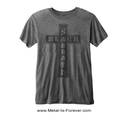BLACK SABBATH -ブラック・サバス- VINTAGE CROSS 「ヴィンテージ・クロス」  バーンアウト Tシャツ(チャコール・グレー)