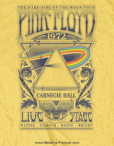 PINK FLOYD (ピンク・フロイド) LIVE AT CARNEGIE HALL POSTER 1972 「ライヴ・アット・カーネギー・ホール・ポスター・1972」 キッズTシャツ(黄色)