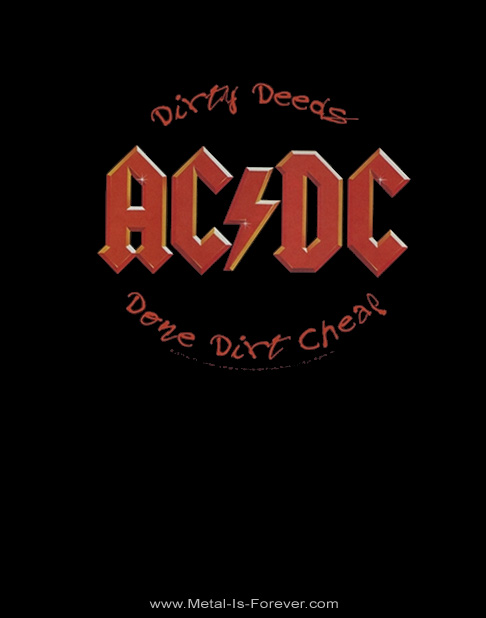 AC/DC (エーシー・ディーシー) DIRTY DEEDS DONE DIRT CHEAP 「悪事と地獄」 ロゴ Tシャツ
