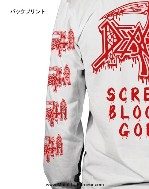 DEATH -デス- SCREAM BLOODY GORE 「スクリーム・ブラッディ・ゴア」 長袖Tシャツ(白)