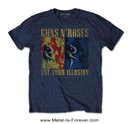 GUNS N' ROSES (ガンズ・アンド・ローゼズ) USE YOUR ILLUSION 「ユーズ・ユア・イリュージョン」 Tシャツ(ネイビー・ブルー)