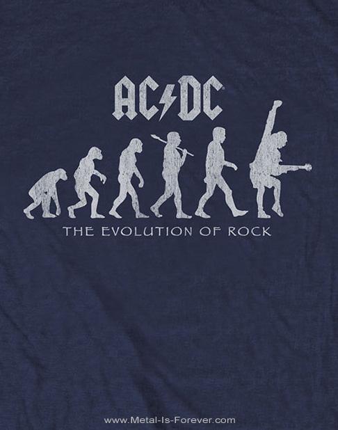 AC/DC (エーシー・ディーシー) EVOLUTION OF ROCK 「エヴォリューション・オブ・ロック」 Tシャツ(ネイビー・ブルー)