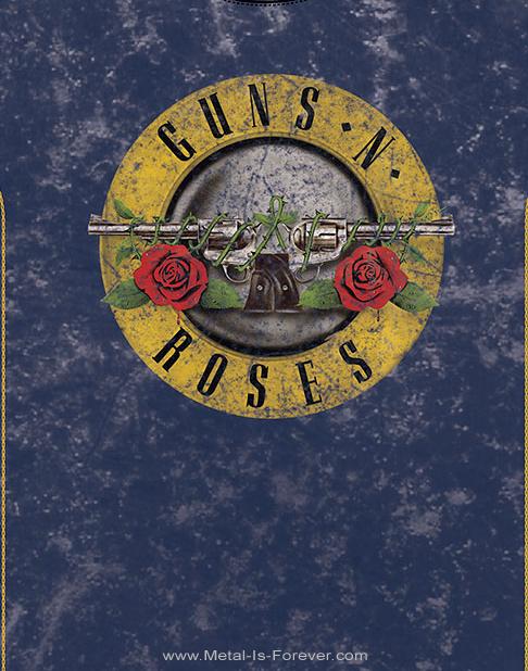 GUNS N' ROSES (ガンズ・アンド・ローゼズ) CLASSIC LOGO 「クラシック・ロゴ」 スノーウォッシュ Tシャツ(ネイビー・ブルー)