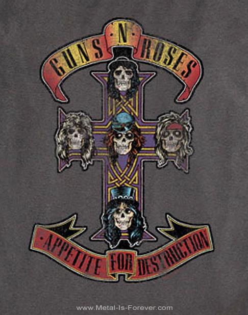 GUNS N' ROSES -ガンズ・アンド・ローゼズ- APPETITE FOR DESTRUCTION 「アペタイト・フォー・ディストラクション」 1987年ツアー長袖Tシャツ(チャコール・グレー)
