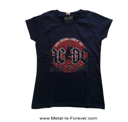 AC/DC (エーシー・ディーシー) HARD AS ROCK 「ハード・アズ・ア・ロック」 レディースTシャツ(ネイビー・ブルー)