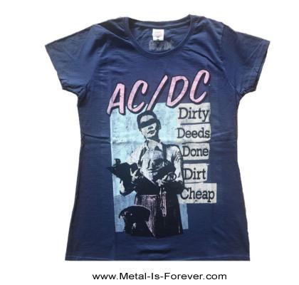 AC/DC (エーシー・ディーシー) DIRTY DEEDS DONE DIRT CHEAP 「悪事と地獄」 レディースTシャツ(ネイビー・ブルー)
