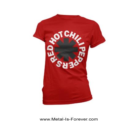 RED HOT CHILI PEPPERS (レッド・ホット・チリ・ペッパーズ) CLASSIC B&W ASTERISK 「クラシック・B&W・アスタリスク」 レディースTシャツ(赤)