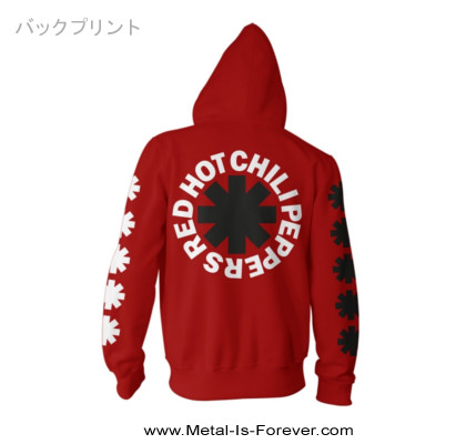 RED HOT CHILI PEPPERS (レッド・ホット・チリ・ペッパーズ) CLASSIC B&W ASTERISK 「クラシック・B&W・アスタリスク」 パーカー(赤)