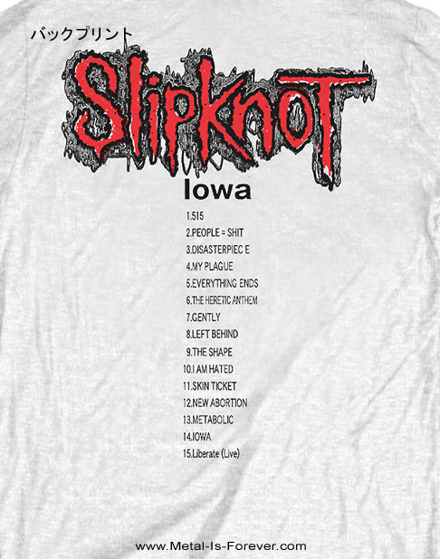SLIPKNOT (スリップノット) IOWA TRACK LIST 「アイオワ・トラックリスト」 Tシャツ(白)