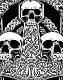 AMON AMARTH (アモン・アマース) THREE SKULLS 「スリー・スカル」 バックパッチ