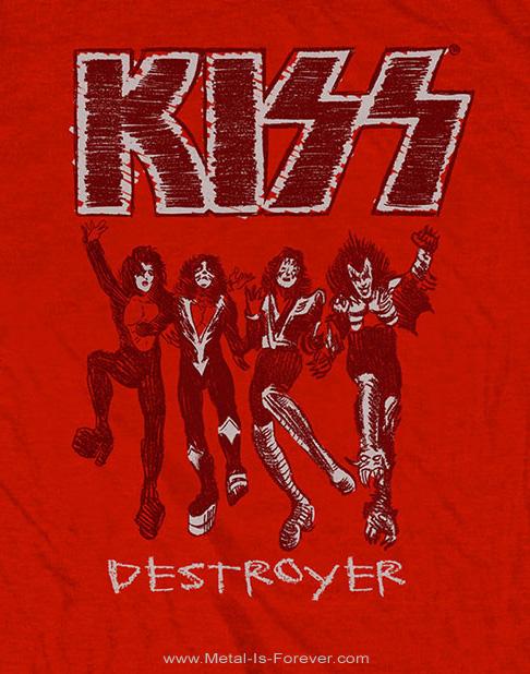 KISS (キッス) DESTROYER 「地獄の軍団」 スケッチ Tシャツ(赤)