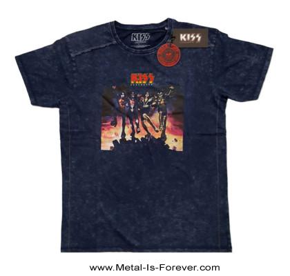 KISS (キッス) DESTROYER 「地獄の軍団」 スノーウォッシュ Tシャツ(ネイビー・ブルー)