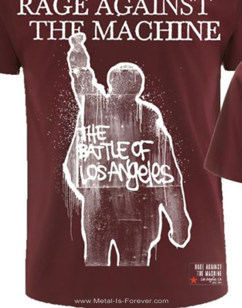 RAGE AGAINST THE MACHINE (レイジ・アゲインスト・ザ・マシーン) BATTLE OF LOS ANGELES 「バトル・オブ・ロサンゼルス」 Tシャツ(マルーン)