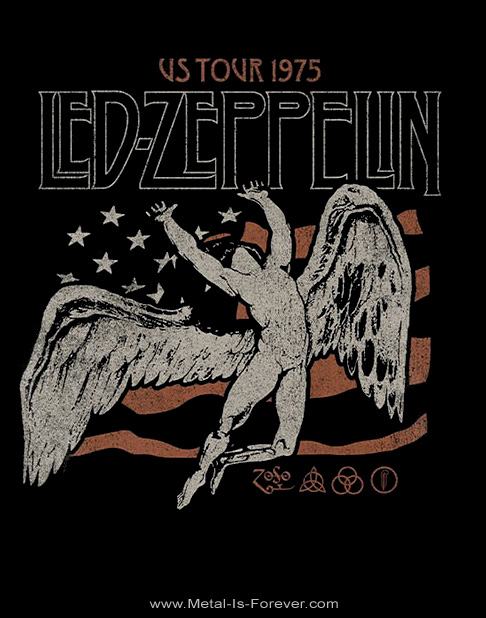 LED ZEPPELIN (レッド・ツェッペリン) US 1975 TOUR FLAG 「USツアー・1975年ツアー・フラッグ」 Tシャツ