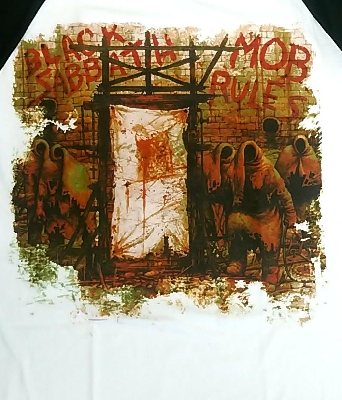 【在庫有り商品】BLACK SABBATH -ブラック・サバス- MOB RULES 「悪魔の掟」 ラグラン長袖Tシャツ Mサイズ