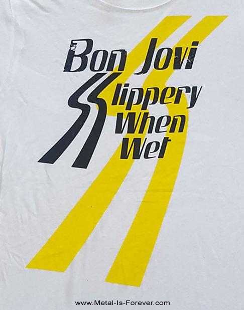 BON JOVI (ボン・ジョヴィ) SLIPPERY WHEN WET 「ワイルド・イン・ザ・ストリーツ」 レディースTシャツ(白)