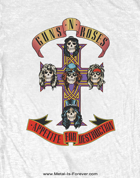 GUNS N' ROSES -ガンズ・アンド・ローゼズ- APPETITE FOR DESTRUCTION 「アペタイト・フォー・ディストラクション」 レディースTシャツ(白)