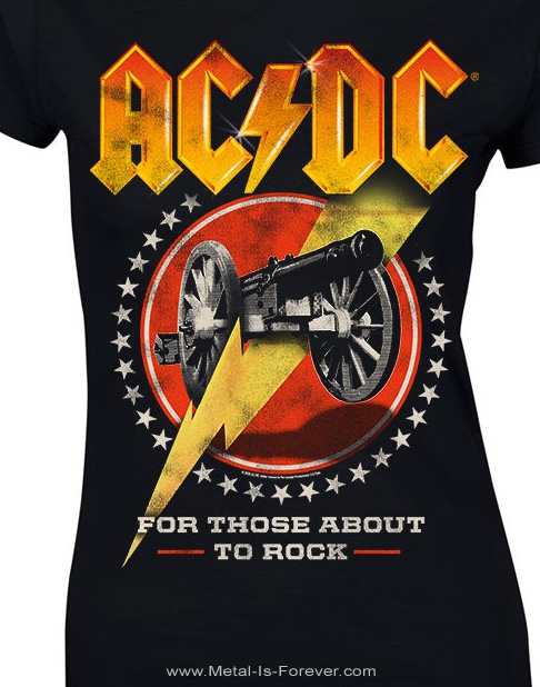 AC/DC (エーシー・ディーシー) FOR THOSE ABOUT TO ROCK (WE SALUTE YOU) 「悪魔の招待状」 レディースTシャツ