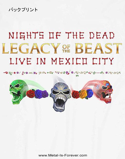 IRON MAIDEN (アイアン・メイデン) NIGHTS OF THE DEAD LEGACY OF THE BEAST: LIVE IN MEXICO CITY 「ナイツ・オブ・ザ・デッド、レガシー・オブ・ザ・ビースト:ライヴ・イン・メキシコシティ」 Tシャツ(白)