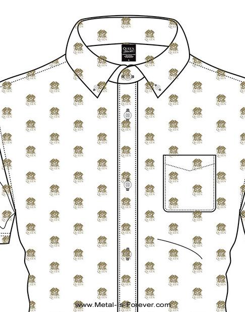 QUEEN (クイーン) CREST 「クレスト」 カジュアルシャツ(白)